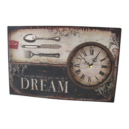 Antique Tin `Dream` Wall Clock Metal Wall Art - This beautiful metal wall art is also a clock, and is sure to complement most decor! It has an aged, antique look, and features the inspirational quote, `If you can dream it, you can do it, DREAM.` The clock face is marked with Roman numerals and decorative black hands, it runs on 1 AA battery and features quartz movement. This piece measures 15 inches long, 9 3/4 inches wide, 3/4 of an inch deep, and mounts to the wall with 2 nails or screws.