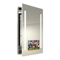 Electric Mirror - Visionary Right Surface Medicine Cabinet - Visionary medicine cabinet available in right or left hinge, recessed or surface mount, and with defogger. 15.6 LED HDTV integrated into mirror door. AV mirror technology provides reflective surface when TV is off. Available in satin finish. GlassWaves audio integrated into mirror door. 720p, 1080i, 16:9 widescreen ratio. Waterproof buoyant remote included. HDMI and RF input. Left/Right audio out. ATSC/NTSC QAM TV Tuner. Designed for humid bathroom environments. (2) 9 watt, 120 volt, LED modules included. 23.25W x 40H x 4D.