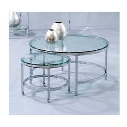 Bassett Mirror - Glass Top Round Cocktail w Nesting Table on C - Versatile function never looked this good! Pair of contemporary cocktail nesting tables enables endless design options for your surroundings. Smaller table has wheeled base for go-anywhere mobility. Each table has glass tops & chrome plated legs. Patinoire collection. Patinoire Collection. Nested roll-out table on casters included. Chrome plated. Polished bull-nose glass tops. 34 in. Dia. x 18 in. H (43 lbs.)