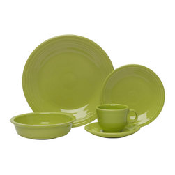 Homer Laughlin China Company - Fiesta 5pc Place Setting, Lemongrass - A brilliant idea and an instant hit, the justly famous Fiesta dinnerware line design is still intact. Now you can dish out dinner in a creative new palette of rich colors.