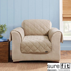 Sure Fit - Sure Fit Reversible Soft Suede/Sherpa Taupe Chair Cover - Stylish,sophisticated and cozy,this Sure Fit furniture cover is also smartly reversible. This classic diamond quilted pet cover reverses to fleecy sherpa with an ultra-soft pile,providing two looks for the price of one.