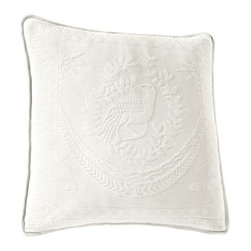 Historic Charleston Collection - King Charles Matelasse White 20-Inch Square Decorative Pillow-Only - - Steeped in Historic Charleston?s rich, classic style and decorative arts culture, the King Charles 100% cotton matelass� bedding collection offers a unique blend of European, Caribbean, and Asian influences.   - King Charles matelass� bedding offers a luxuriously soft bedspread, coverlet, bed skirt, shams and decorative accent pillows featuring classic 19th century motifs representing the sun, a topiary, a pheasant, and a pineapple.   - The superior design of the King Charles matelass� bedding ensemble can be traced back to England circa 1820, incorporating key influences from that time period including the fine arts and superior craftsmanship.   - Each piece is crafted individually on special weaving looms to create the luxurious design that defines this lovely matelass� bedding collection.   - Highs and lows created during the jacquard weaving process allow the intricate designs and motifs to come to life.   - Designs from the archives of Historic Charleston?s heritage, were interpreted to create the lovely King Charles bedding set.   - Rolling arches, half-moons, double diamonds and scrolling vine details wrap around the classic topiary, pheasant, sun and pineapple motifs.   - Coverlet and bedspread drape beautifully over the bed to reveal rounded corners.   - Pair the bedspread or coverlet with bed skirt to create a complete look.   - Add coordinating, decorative shams and pillows to create the ultimate bedroom oasis.   - The heavy-weight, stonewashed matelass� of King Charles bedding ensures life-long durability and style for generations to come.   - Crafted in Portugal.   - Stone-washed.   - 100% cotton matelass�.   - The Historic Charleston Foundation was established in 1947 and is a nonprofit organization whose mission is to preserve and protect the historical, architectural and material culture that make up Charleston?s rich and irreplaceable heritage.   