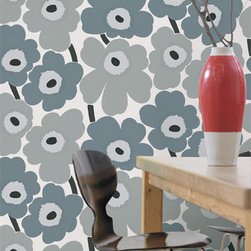 Unikko Gray Wallpaper from Marimekko - This is perhaps the most popular and iconic Marimekko pattern of all time, UNIKKO, and now it's available in wallpaper! Perk up your walls Scandinavian style with these oversized happy poppies and bring the garden indoors!