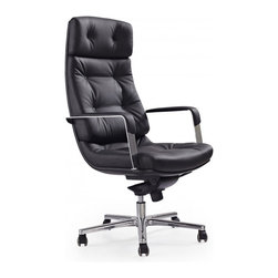 White Line Imports - Princeton Executive High Back Office Chair in Black Leatherette - Features: