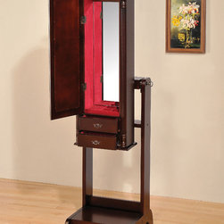 """Acme Furniture - Ibiza Jewelry Armoire in Cherry, Red Lining - Ibiza Jewelry Armoire in Cherry, Red Lining; Finish: Cherry, Red Lining; Materials: MDF with Ven. Solid Wood Leg; Weight: 46.26 lbs; Dimensions: 16"""" x 17"""" x 60""""H"""
