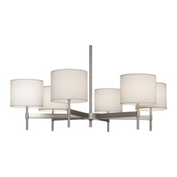 Robert Abbey - Echo Chandelier, Stainless Steel - Refresh your ambience with the contemporary styling of this chandelier. It's got a sleek metal frame that gives it modern character and fabric shades that soften its glow as it warms your space.