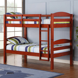 Walker Edison - Solid Wood Cherry Twin/ Twin Bunk Bed - Children, teens, and adults alike will enjoy a good night of rest in this solid cherry wood twin bunk bed. Featuring full-length guardrails and an integrated ladder for added safety and convenience, this piece also converts to make two twin beds.