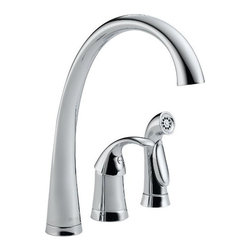 """Delta Faucet CO - Kitchen Faucet Single Spray Chrome - High arc faucet. 3- hole 6-16"""" installation, diamond seal valve, 2.5 gym flow rate at 80psi. Front trigger sprayer activation. Features a stop that allows the spout to swing only 180 degrees allowing ample flexibility to move out of the way while preventing interference with backsplash. CA/VT compliant."""