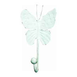 """Jubilee Collection - 4"""" Butterfly Hook - White - Material: metal. 4 x 7 in."""