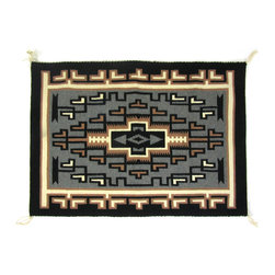 Consigned Very Fine Tapestry Quality Two Grey Hills Navajo Rug - Finely woven Two Grey Hills Navajo tapestry wall hanging.