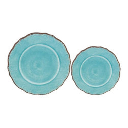 Le Cadeaux - Antiqua Red 16-Plate Melamine Dinnerware Set, Turquoise - Triple strength melamine - not microwave safe but dishwasher safe.