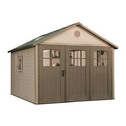 Lifetime 11 x 21 ft. Outdoor Storage Shed with Tri Fold Doors - Additional features:Two 30 x 14-inch shelvesTwo 16-inch peg strips with tool hooksExterior dimensions: 10.3W x 21D x 9.3H feetInterior dimensions: 10W x 19.2D x 9.2H feetDoor dimensions: 9W x 6.6H feet The perfect solution to all your backyard storage needs, the Lifetime 11 x 21 Foot Outdoor Storage Building with Tri Fold Doors is big enough to store just about anything! Offering 1573.6 cubic feet of space, this spacious structure from Lifetime Sheds is just what you need to store your do-it-yourself projects, work tables, lawn and garden equipment, off-season storage household items, and more. Constructed from high-density polyethylene (HDPE) plastic with powder-coated steel reinforcements, this sturdy shed is weather- and- rust-resistant and designed to withstand the harshest elements for years to come. UV-protection and stain-resistance, means no painting or maintenance is required.The extra-large, carriage-style tri-fold doors allow you to open up the entire front of the shed for easy access, while an internal spring latch, interior deadbolts, and an exterior padlock loop ensure the security of your property. Six lockable, sliding windows, three stationary windows in the doors, two large skylights, and two screened vents let in enough natural light, so you can easily make your way around during the day. Two 30 x 14-inch shelves and two 16-inch peg strips with tool hooks allow you to create the perfect storage area to suit your needs. This storage building comes with a 10-year limited manufacturer's warranty. Please note that this shed must be built on a flat level foundation of wood or concrete (not included). Assembly is a weekend project for one or two people.About Lifetime ProductsOne of the largest manufacturers of blow-molded polyethylene folding tables and chairs and portable residential basketball equipment, Lifetime Products also manufactures outdoor storage sheds, utility trailers, and lawn and garden items. Founded in 1972 by Barry Mower, Lifetime Products operates out of Clearfield, Utah, and continues to apply innovation and cutting-edge technology in plastics and metals to create a family of affordable lifestyle products that feature superior strength and durability.