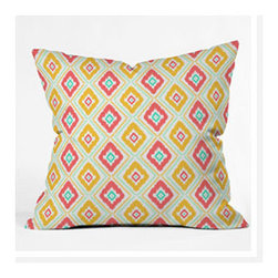 """DENY Designs - Jacqueline Maldonado Zig Zag Ikat Throw Pillow - Wanna transform a serious room into a fun, inviting space? Looking to complete a room full of solids with a unique print? Need to add a pop of color to your dull, lackluster space? Accomplish all of the above with one simple, yet powerful home accessory we like to call the DENY Throw Pillow! Features: -Jacqueline Maldonado collection. -Color: Print. -Material: Woven polyester. -Sealed closure. -Spot treatment with mild detergent. -Made in the USA. -Closure: Concealed zipper with bun insert. -Small dimensions: 16"""" H x 16"""" W x 4"""" D. -Medium dimensions: 18"""" H x 18"""" W x 5"""" D. -Large dimensions: 20"""" H x 20"""" W x 6"""" D. -Product weight: 3 lbs."""