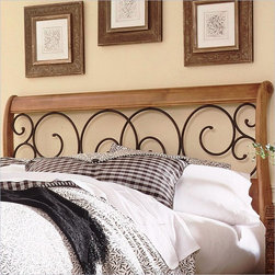Fashion Bed - Fashion Bed Dunhill Wood Headboard in Honey Oak-Queen - Fashion Bed - Headboards - B92D05 - Taking advantage of a warm wood/metalwork combination the Dunhill features a wood headboard with entwined scrollwork detailing. It has the gentle curves of a sleigh-style bed which makes it an ideal addition to a traditional country or contemporary bedroom suite.