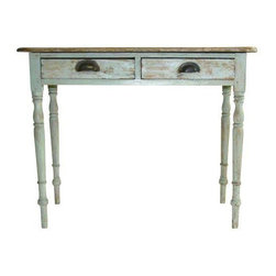 Pre-owned Chippy Painted Desk - This adorable small painted green desk is probably American or English made. We're not quite sure from when but, this piece's rustic charm is undeniable. In a compact, versatile size, this desk would work well as a desk or table.