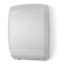 """Palmer Fixture - Multifold Towel Dispenser - Plastic, White - The Plastic Multifold Towel Dispenser, with a Translucent White cover and beige back, is completely hands-free, the user touches nothing but the paper they need. The impact resistant plastic cover allows for easy dispensing and reduces multiple dispensing. Translucent cover provides easy view of a low paper supply. Unit uses any universal multifold towel.; Dimensions: 11"""" L x 4 1/2 W x 16"""" H; Includes 1 key, type 1"""