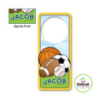 Kidkraft - Kidkraft Kids Sports Door Hanger From Vistastores - Can be personalized with any name up to 9 characters in length. All lower case, Font, color and graphic art only as shown, Fits any standard door knob, Reverse side is blank.