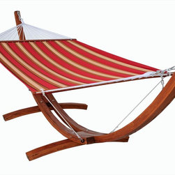 Kontiki - Kontiki Beach, Pool & Lounge Wooden Hammocks - The wooden hammock base and quilted sling is a unique and comfortable product, created to bring warmth and relaxation to your home. Create an outstanding exterior design statement with this wonderful product in your backyard or on your deck.  Your family will love relaxing at home with BuildDirect's hammock system  A standalone base with a fabric that's easy to wash and maintain, the wooden hammock base and quilted sling will be a favorite in your family home. With enough space for an adult to relax or a couple of children to snuggle up, this fantastic hammock system will provide comfort and value for years to come.   Because it's easy to put up in your home or backyard and simple to wash, this product will provide lasting cottage style. A fun and polished exterior design option, the wooden hammock base and quilted sling will augment the look and feel of your home, especially in the warm summer months.   At BuildDirect, we search out the best value and price for our customers  With your purchase of a wooden hammock base and quilted sling, BuildDirect can save you money. Not only does BuildDirect provide you with the most competitive prices in the market, this product comes with a warranty, which is rare in the accessories industry. You'll know that you're getting more for your money.  You can count on BuildDirect for quality. We work closely with our international suppliers to bring the highest standards to your purchase, especially when it comes to luxury products like this one.