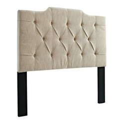 Tufted Linen Panel Headboard - Tan Linen