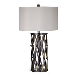 Bassett Mirror - Sommerset Table Lamp - This contemporary table lamp offers the perfect modern accent to your decor with it's unique, sliding scissor, bronze finish design, coupled by a clean, simple gray shade.