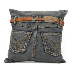 Jean Cushion, Blue Denim W/ Back Jean - Made from recycled denim fabric sewn into a whimsical design, the Jean cushion is a must for any room.