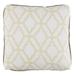 Lacefield Designs - Kai Spring Pillow with Natural Linen Flange and Turkish Corners - The Kai Spring Pilow offers geometric elegance with a neutral color palette. Turkish corners and natural linen flange make this a must-have accessory for your bedroom or living room.