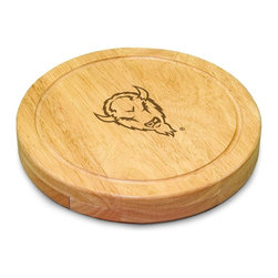 "Picnic Time - Marshall University Circo Cheese Board - The Circo by Picnic Time is so compact and convenient, you'll wonder how you ever got by without it! This 10.2"" (diameter) x 1.6"" circular chopping board is made of eco-friendly rubberwood, a hardwood known for its rich grain and durability. The board swivels open to reveal four stainless steel cheese tools with rubberwood handles. The tools include: 1 cheese cleaver (for crumbly cheeses), 1 cheese plane (for semi-hard to hard cheese slices), 1 fork-tipped cheese knife, and 1 hard cheese knife/spreader. The board has over 82 square inches of cutting surface and features recessed moat along the board's edge to catch cheese brine or juice from cut fruit. The Circo makes a thoughtful gift for any cheese connoisseur!; College Name: Marshall University; Mascot: Thundering Herd; Decoration: Laser Engraving; Includes: 1 Hard cheese knife, 1 Cheese shaver, 1 Fork-tipped cheese knife, 1 Cheese spreader"