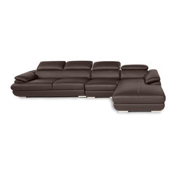 Zuri Furniture - Brown Melrose Leather Sectional Sofa, Right Chaise - Indulge yourself with the glamorous Melrose modern sectional. Luscious aniline top grain leather, complete with adjustable arm and head rests, and cylindrical chrome-lined feet emphasize its contemporary appeal.