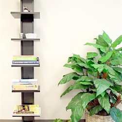 Proman Products - Hancock Tower Spine Shelf in Black Finish - Modern, sleek design with European style. Stand alone, never sag, tilt design. Space saving function. Seven layer shelving and books displayed. Made from wood. 15 in. W x 18 in. D x 68 in. H