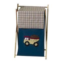 Sweet Jojo Designs - Construction Zone Clothes Hamper - The Construction Zone Clothes Hamper by Sweet Jojo Designs will add a designers touch to any child's room. This children's laundry clothes hamper has a wooden frame, mesh liner, and a fabric cover. The removable hamper body is secured to the wooden frame with corner loops and Velcro. The wooden stand folds flat for space-saving storage and the removable mesh liner is great for toting laundry.