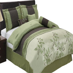Bed Linens - Pasadena 11-Piece Bed in a Bag King Sage - The colors of this set are combination of light blue metallic and coffee with blue and brown floral stitching