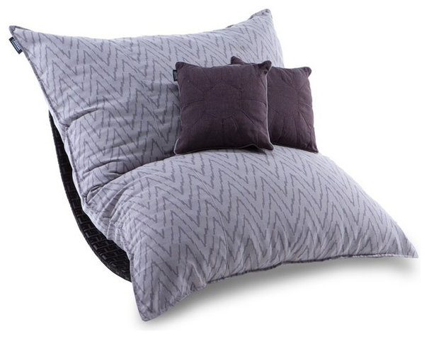Contemporary Living Room Chairs Limited Edition Amira Purple Tweed Pillowsac Package