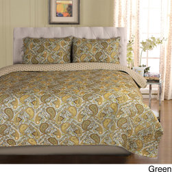 None - Moroccan Paisley Cotton 3-piece Quilt Set - Cover your bed with the attractive Moroccan quilt set. Colorful and detailed paisley designs will bring a fashionable touch to any bedroom. Made from 100-percent cotton, this unique set is available in a green or grey finish.