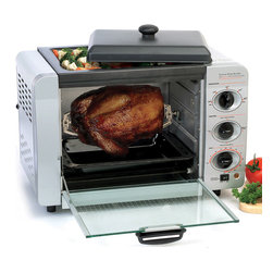None - Aluminum Multifunction Oven - Cook a variety of meals in this small aluminum oven. This 16-liter gadget can grill, toast, bake, and even rotisserie with ease. It uses less electricity than your regular oven and won't heat up your kitchen as much during the warm summer months.