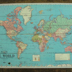 Vintage World Map by Redeemed Roots - Every good explorer needs a map, so check this one out: Measuring 23-by-34 inches, it's adhered to reclaimed wood.