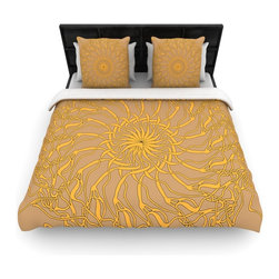 """Kess InHouse - Patternmuse """"Mandala Spin Latte"""" Brown Yellow Fleece Duvet Cover (Twin, 68"""" x 88 - You can curate your bedroom and turn your down comforter, UP! You're about to dream and WAKE in color with this uber stylish focal point of your bedroom with this duvet cover! Crafted at the click of your mouse, this duvet cover is not only personal and inspiring but super soft. Created out of microfiber material that is delectable, our duvets are ultra comfortable and beyond soft. Get up on the right side of the bed, or the left, this duvet cover will look good from every angle."""