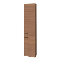 Iotti - Tall 2 Door Storage Cabinet in Natural Oak Finish - This wall-mounted unit will help you expand the storage space within your bathroom.