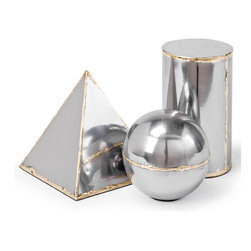 Kathy Kuo Home - Set of 3 Mellor Steel and Brass Models - Don't know much about geometry? You'll still want this steel and brass sculpture set. It will look stunning on your mantel above the fireplace or tucked in a corner in your bookcase. Paperweights anyone?