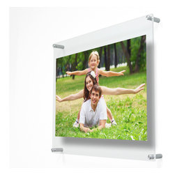 "Wexel Art - 2127D Double Panel Acrylic Wall Frame 21x27 - Float your artwork and posters off the wall while fully enclosing your art in between two panels of acrylic. Ideal for 18x24"" posters and art. Includes: 2 acrylic panels 21x27"" OD (3/16 and 1/8 inch thickness) with polished edges, 4 wall mounts (5/8"" diam x 1.5"" long), 4 screws and anchors. No magnets needed. When you want to change out your display, just unscrew the caps on the hardware and lift off the top panel of acrylic."