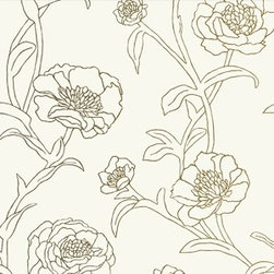 Tempaper - Gold Leaf PE042 Peonies Self-Adhesive Wallpaper - Gold Leaf PE042 Peonies Self-Adhesive Wallpaper is self-adhesive and has 24 inches of pattern repeat. This self-adhesive wallpaper is revolutionary in the home decor industry. It can be easily removed, repositioned or readjusted to match your style. It is the perfect wallpaper for renters, or people who just like to change their home decor often! Liven up any room as frequently as you like with self-adhesive removable wallpaper. Collection name: Tempaper Size of each double roll is 20.5 inches x 33 feet. Each double roll covers about 56.37 square feet / 5.24 square meters. Wallpapers are priced per single roll, but packaged and sold in double rolls only. Please order the number of single rolls that you will need, but you must order in multiples of two (even numbers) only.