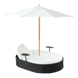 Modway - Modway Nagoya Dual Patio Chaise Lounge Multicolor - EEI-955-EXP-WHI - Shop for Chaise Lounges from Hayneedle.com! The Modway Nagoya Dual Patio Chaise Lounge goes toe-to-toe with a tete-a-tete for the ultimate in conversational relaxation. And the Nagoya will come out on top every time. This amazing outdoor daybed unfolds to reveal opposite facing chaise lounges so you and a friend can simultaneously enjoy the sunshine and each other's company. The opposing backrests facilitate conversation so you won't have to strain or get a crick in your neck while talking. And each lounger has a convenient mini tray table attached perfect for holding a drink a phone or some light reading. When the sun starts to get a bit too warm the central umbrella can be lifted to provide loungers some welcome shade. The cool contrast of the Espresso-colored wicker rattan and the White seat cushions achieves a very contemporary look that is right at home in almost any outdoor setting. And because of the materials used in constructing these pieces including all-weather resin wicker rattan and a powder-coated aluminum frame you can count on them lasting season after season and year after year.About ModwayModway designs and manufactures modern classic furniture pieces for the contemporary home. The quality pieces are fresh and elegant with a distinctively updated appeal. Simple clean lines and a vibrant selection of colors and finishes make these pieces perfect for the home or office. A wide selection of products include pieces for the living room dining room bar office and outdoors. High-quality and innovative designs make Modway the premier company for luxurious modern style.