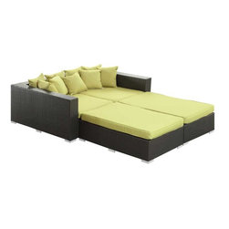 Modway - Palisades 4 Piece Daybed in Espresso Peridot - Rejoice in the splendor of a completely formed outdoor bedding environment. View from afar as you silently take in the sights and sounds around you for proper effect. Make your initial movements toward transformation with this splendid flowing piece of absolution and resolve.
