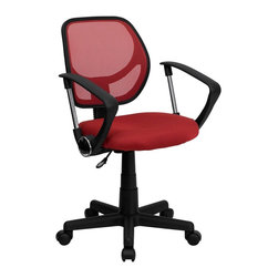 Flash Furniture - Computer Mesh Adjustable Task Chair - 2 in. thick padded seat with mesh upholstery. Standard swivel chair mechanism. Pneumatic seat height adjustment. Black nylon base. Dual wheel casters. Warranty: 2 year limited. Assembly required. Back: 16 in. W x 16 in. H. Seat: 17.5 in. W x 16.25 in. D. Seat Height: 15.5 - 19.5 in.. Arm Height from Floor: 23.5 - 27.5 in.. Arm Height from Seat: 8.5 in.. Overall: 21.5 in. W x 22.5 in. D x 30.5 - 34.5 in. H (26 lbs.)