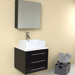 "Fresca - Fresca Modella 24"" Modern Bathroom Vanity and Medicine Cabinet - At a width of 23.75"" and a height of 25.63"", the Fresca Modella bathroom vanity is perfect for smaller spaces, yet with a deep 19.75"" of storage, ""small"" certainly isn't code for ""insufficient."" What's more, the 23.63"" wide x 23.63"" high x 6"" deep medicine cabinet and two adjoining shelves solve any additional storage quandaries you may be facing.Clean lines and simple chrome hardware that seem to be only found in Chelsea or SoHo shops compliment the combination of dark brown, white, and chrome that cover this geometric bathroom vanity.Items included: Vanity, Medicine Cabinet, Sink, Faucet, P-Trap and Pop-Up Drain, Standard hardware needed for installation.DecorPlanet is proud to offer Fresca Bathroom products. Fresca is a leading manufacturer of high-quality vanities, accessories, toilets, faucets, and everything else to give you the freshest bathroom in the neighborhood. Fresca is known for carrying the latest and most popular styles in modern and contemporary bathroom design that are made with high quality materials and superior workmanship"