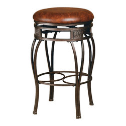 Hillsdale - Hillsdale Montello 26 Inch Swivel Faux Leather Counter Stool - Hillsdale - Bar Stools - 4361827 - Historic tradition and modern dynamics combine in the Montello dining ensemble. Sweeping interlocking circles intricate complementary castings and elegantly curved legs combine to create a collection with grace movement and elegance. Finished in a dynamic old steel with distressed brown finish for an antique luster.