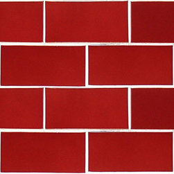 "Glass Tile Oasis - Brick Red 3"" x 6"" Red Tapestry Handmade Tile Glossy Ceramic - Tile Size:  3"" x 6""        Tile thickness:  1/4""        Handcrafted Ceramic Tile-8 pieces per Sq. Ft.       Sold by the square foot        -  Shade and size variations are inherent characteristics in all handcrafted ceramic tile. Orders ship within 2-3 weeks."