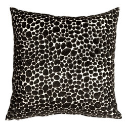 Pillow Decor - Pillow Decor - Pony Spots Black and White 16x16 Throw Pillow - This fun and funky 16x16 decorative pillow features black faux fur spots on an off-white faux leather backing. This throw pillow is a textural delight, combining the softness of velvet with the smooth buttery feel of leather. Perfect for a black and white decorating theme or as a fun toss pillow for the bed, den, or family room. Pony, Dalmatian or just a great pillow...you decide.