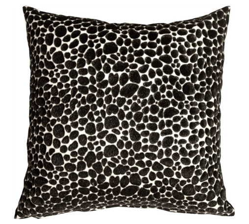 Pillow Decor - Pony Spots Black and White Throw Pillow - This fun and funky 16 x 16 decorative pillow features black faux fur spots on an off-white faux leather backing. This throw pillow is a textural delight, combining the softness of velvet with the smooth buttery feel of leather. Perfect for a black and white decorating theme or as a fun toss pillow for the bed, den, or family room. Pony, Dalmatian or just a great pillow...you decide.