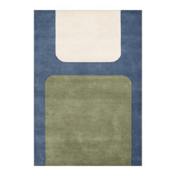 Alliyah Rugs - Midnight Blue & Cream Contemporay Rug - Alliyah Handmade New Zealand Blend Wool Rug With Midnight Blue, Cream, Khaki Color. Antique  Washed.