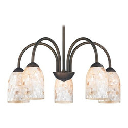 Design Classics Lighting - Chandelier with Mosaic Glass in Bronze Finish - 591-220 GL1026D - Mosaic glass neuvelle bronze 5-light chandelier light with dome glass shades. Takes (5) 100-watt incandescent A19 bulb(s). Bulb(s) sold separately. UL listed. Dry location rated.